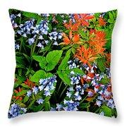 Blue And Red Flowers In Kuekenhof Flower Park-netherlands Throw Pillow