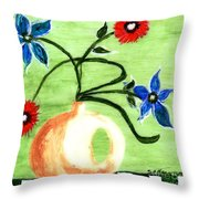 Blue And Red Flowers Throw Pillow
