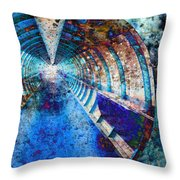 Blue And Rust Grunge Tunnel Throw Pillow