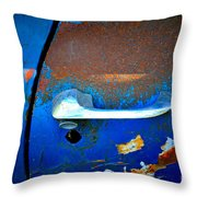 Blue And Rusty Picking Throw Pillow