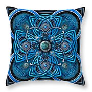 Blue And Silver Celtic Cross Throw Pillow