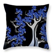 Blue And Silver Fractal Tree Abstract Artwork Throw Pillow