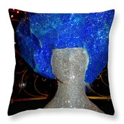 Blue And Silver Girl Throw Pillow