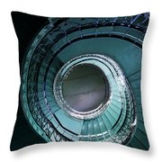 Blue And Silver Spiral Stairs Throw Pillow