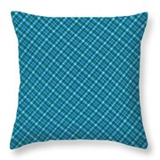 Blue And Teal Diagonal Plaid Pattern Textile Background Throw Pillow