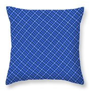 Blue And White Diagonal Plaid Pattern Cloth Background Throw Pillow