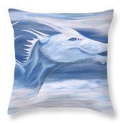 Blue And White Dragon Throw Pillow