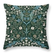 Blue And White Flowers On Green Throw Pillow