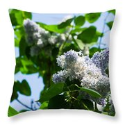 Blue And White Lilacs Throw Pillow