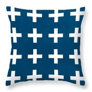 Blue And White Plus Sign Throw Pillow