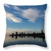 Brushstrokes On The Sky - Blue And White Serenity Throw Pillow