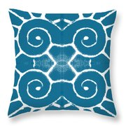 Blue And White Wave Tile- Abstract Art Throw Pillow