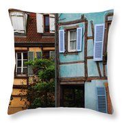 Blue And Yellow Buildings In La Petite Venise In Colmar France Throw Pillow