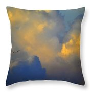 Blue And Yellow Clouds At Sunset With Birds Usa Throw Pillow