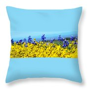 Blue And Yellow Wildflowers Throw Pillow