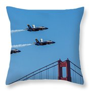 Blue Angels Over The Golden Gate Throw Pillow
