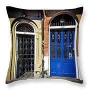 Blue Arch Door Throw Pillow