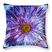 Blue Aster Miniature Painting Throw Pillow