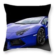 Blue Aventador Throw Pillow