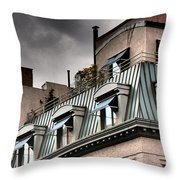 Blue Awnings With Yellow Light Throw Pillow