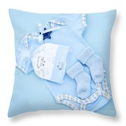 Blue Baby Clothes For Infant Boy Throw Pillow
