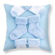Blue Baby Socks Throw Pillow by Elena Elisseeva