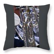 Blue Band Brass Throw Pillow