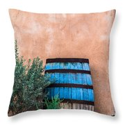 Blue Barrel With Adobe Throw Pillow