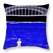 Blue Bay Bridge Throw Pillow