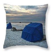 Blue Beach Chairs Throw Pillow