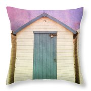 Blue Beach Hut Throw Pillow