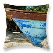 Blue Beached Canoe Throw Pillow
