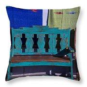 Blue Bench Throw Pillow