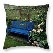 Blue Bench With Roses Throw Pillow