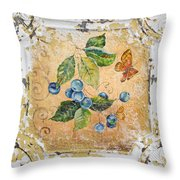 Blue Berries And Butterfly On Vintage Tin Throw Pillow