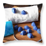 Blue Berries Mini Soaps Throw Pillow