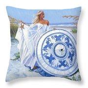 Blue Berry Beach  Throw Pillow