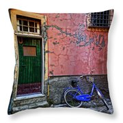 Blue Bicycle Monterosso Italy Dsc02592  Throw Pillow