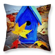Blue Bird House Throw Pillow
