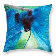 Blue Bird Of Paradise Throw Pillow