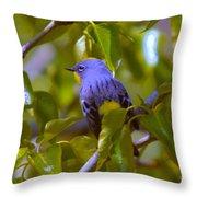 Blue Bird With A Yellow Throat Throw Pillow