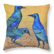 Blue Birds Of Happiness Throw Pillow
