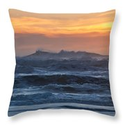 Blue Black Tide At Sunset Throw Pillow