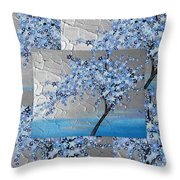 Blue Blossom Tree Throw Pillow