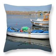 Blue Boat In Sozopol Harbour Throw Pillow