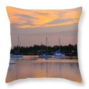 Blue Boats At Sunset Throw Pillow