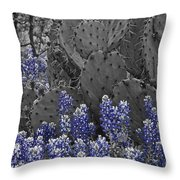 Blue Bonnet Cactus Throw Pillow