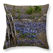 Blue Bonnet Fence V2 Throw Pillow