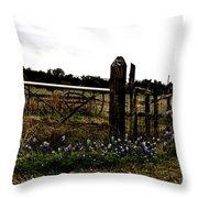 Blue Bonnet Fence V4 Throw Pillow