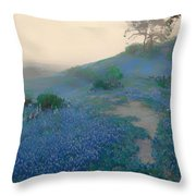 Blue Bonnet Field In San Antonio Throw Pillow